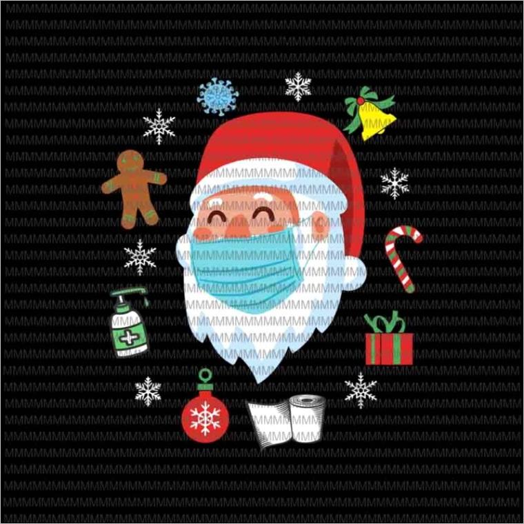 santa face mask svg santa wearing mask svg santa claus mask svg funny santa claus 2020 svg christmas svg quarantine christmas 2020 svg