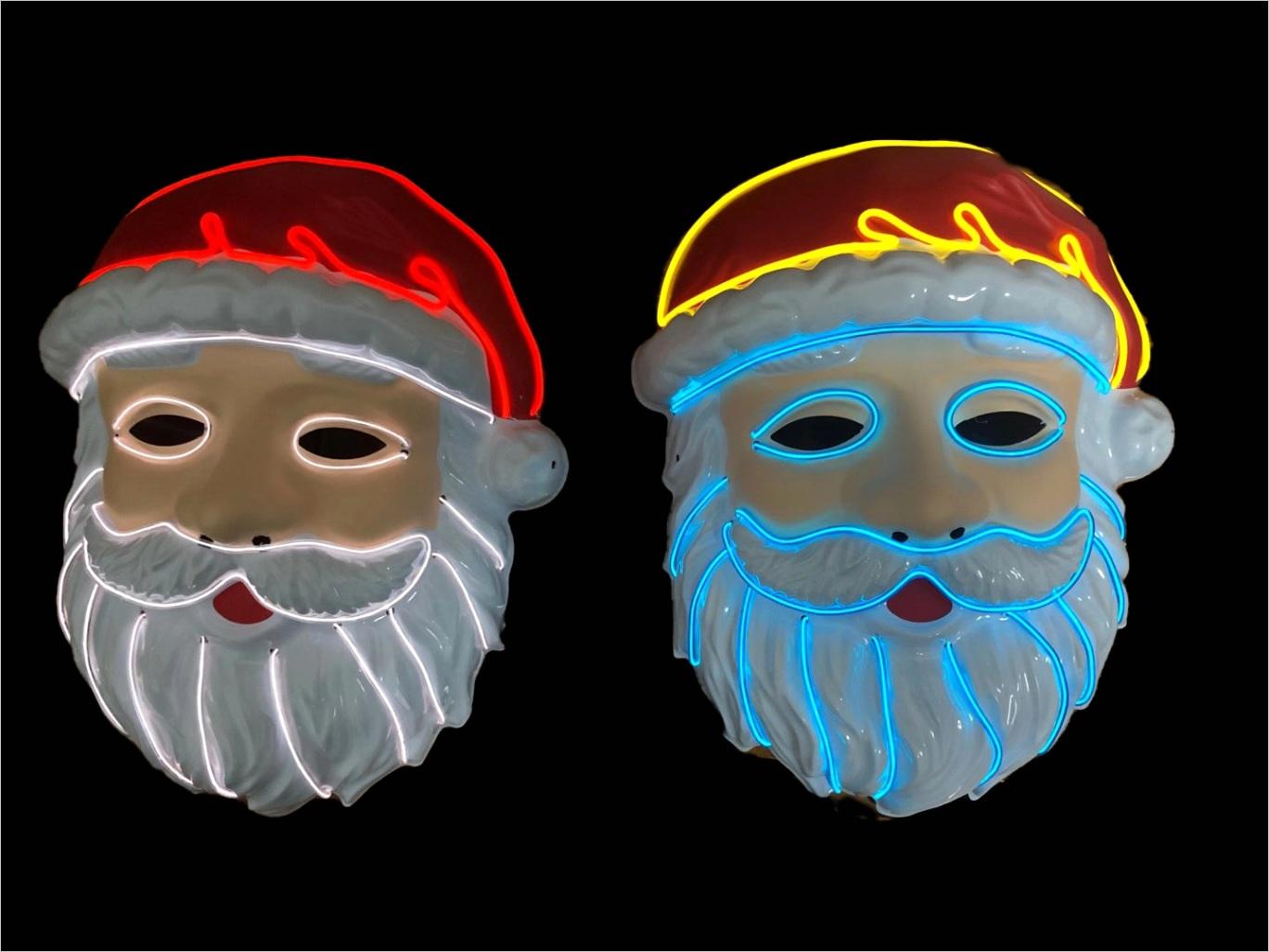 LED Flashing Christmas Funny Santa Claus Beard Mask ml