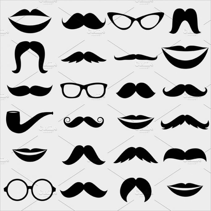 1972 Mustache Lips Vectors and Clipart