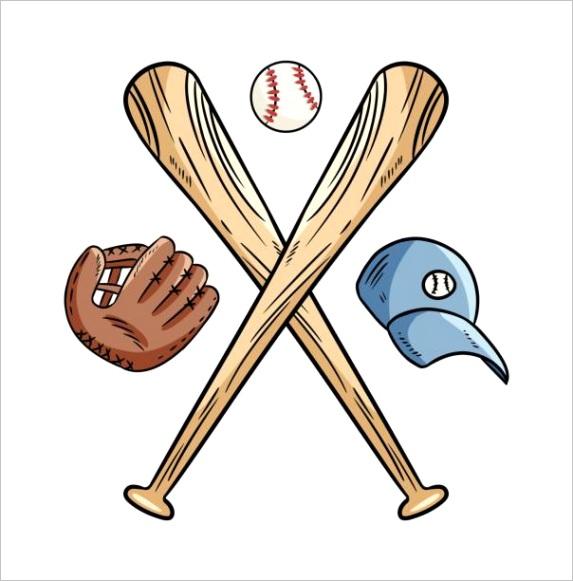 drawing of baseball bats crossed