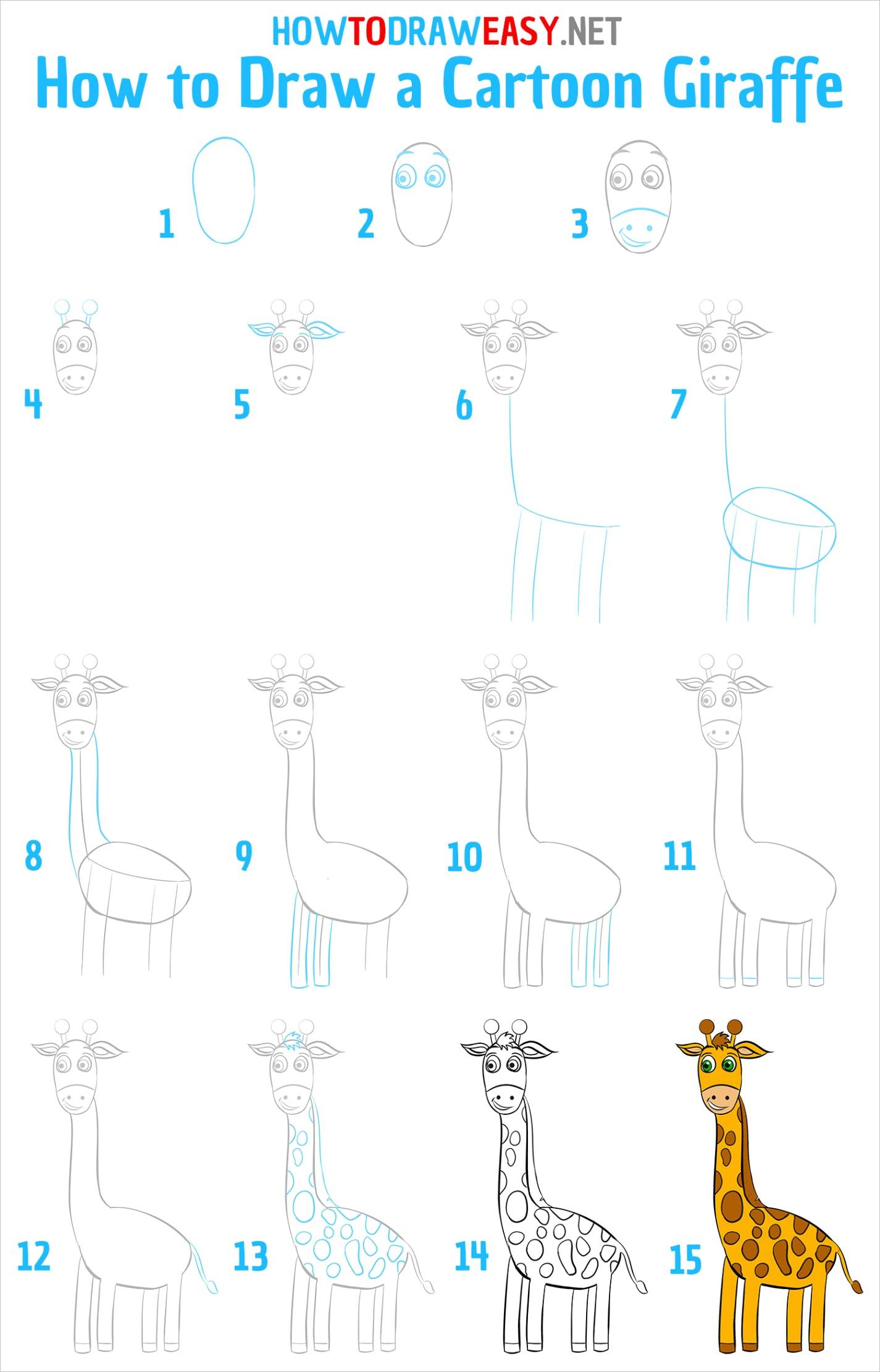 how to draw a cartoon giraffe
