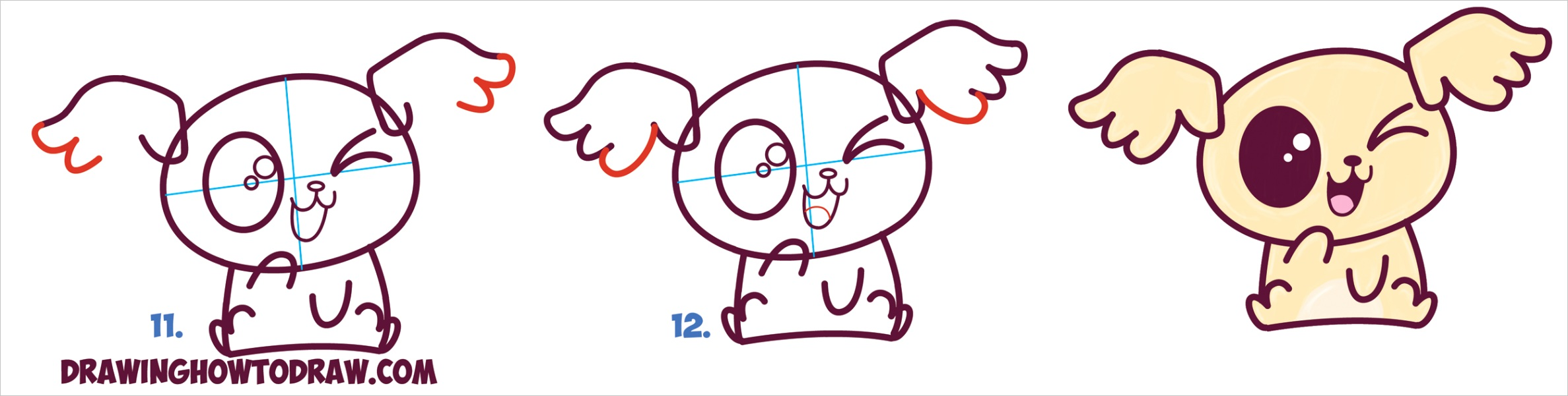 draw cute kawaii chibi puppy dogs easy step step drawing tutorial beginners kids