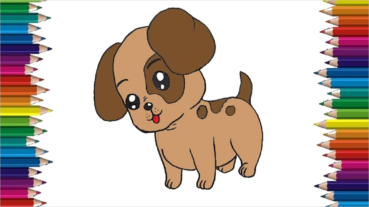 how to draw a baby dog step by step cartoon puppy drawing easy