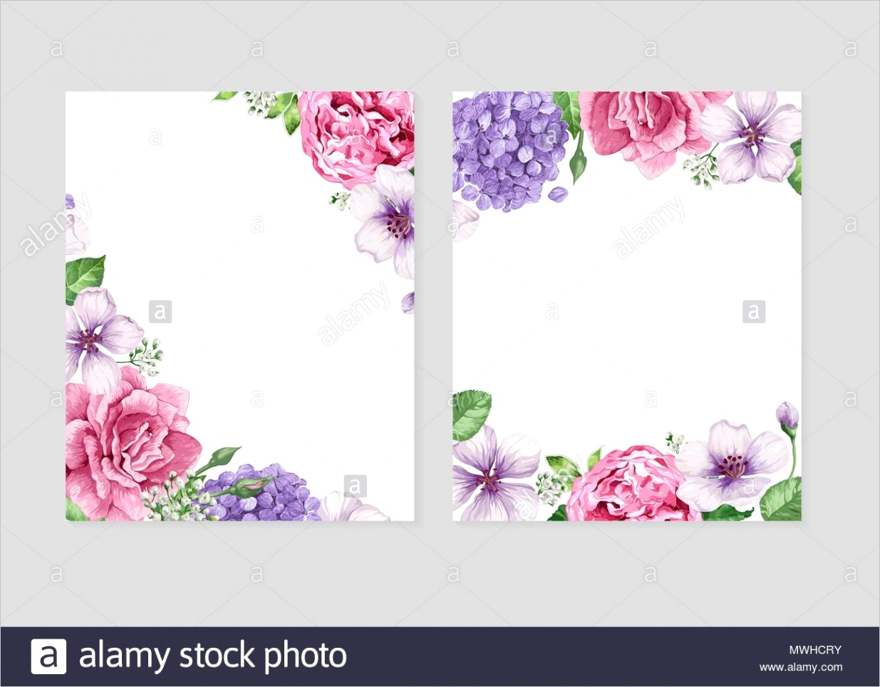 floral blank template set flowers in watercolor style isolated on white background for web banners polygraphy wedding invitation border image ml