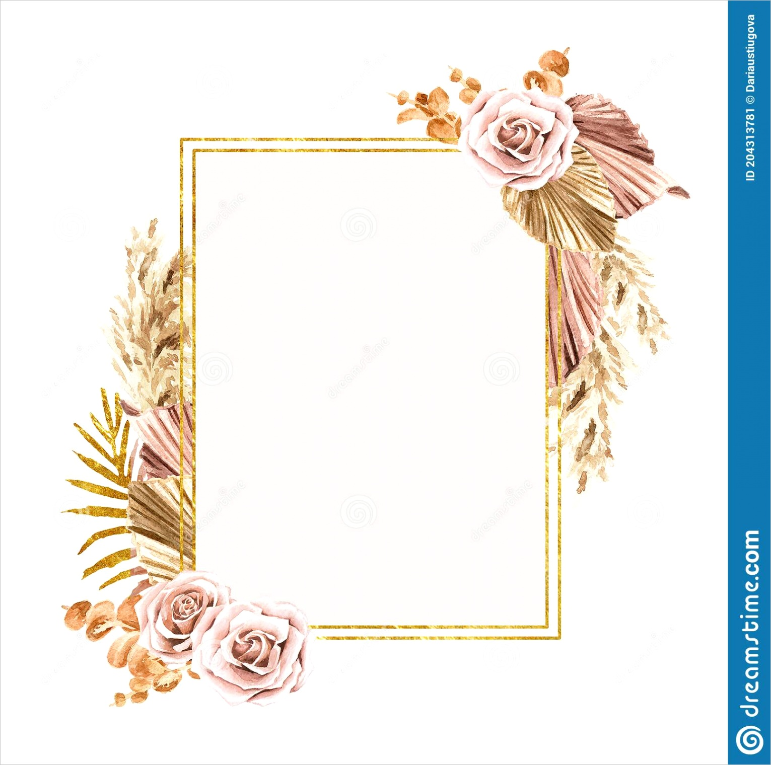 golden frame dried plants wedding invitation save date thank you brochure invite template background watercolor image
