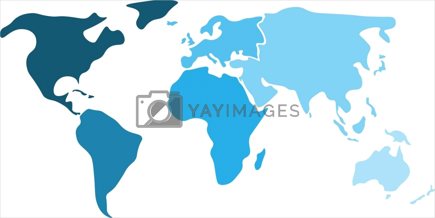 multicolored world map divided to six continents in different shaders of blue north america south america africa europe asia and australia oceania simplified silhouette blank vector mapml