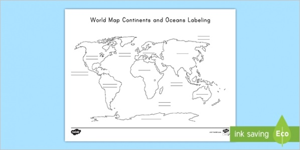 us g 77 world map continent and ocean labeling activity sheet