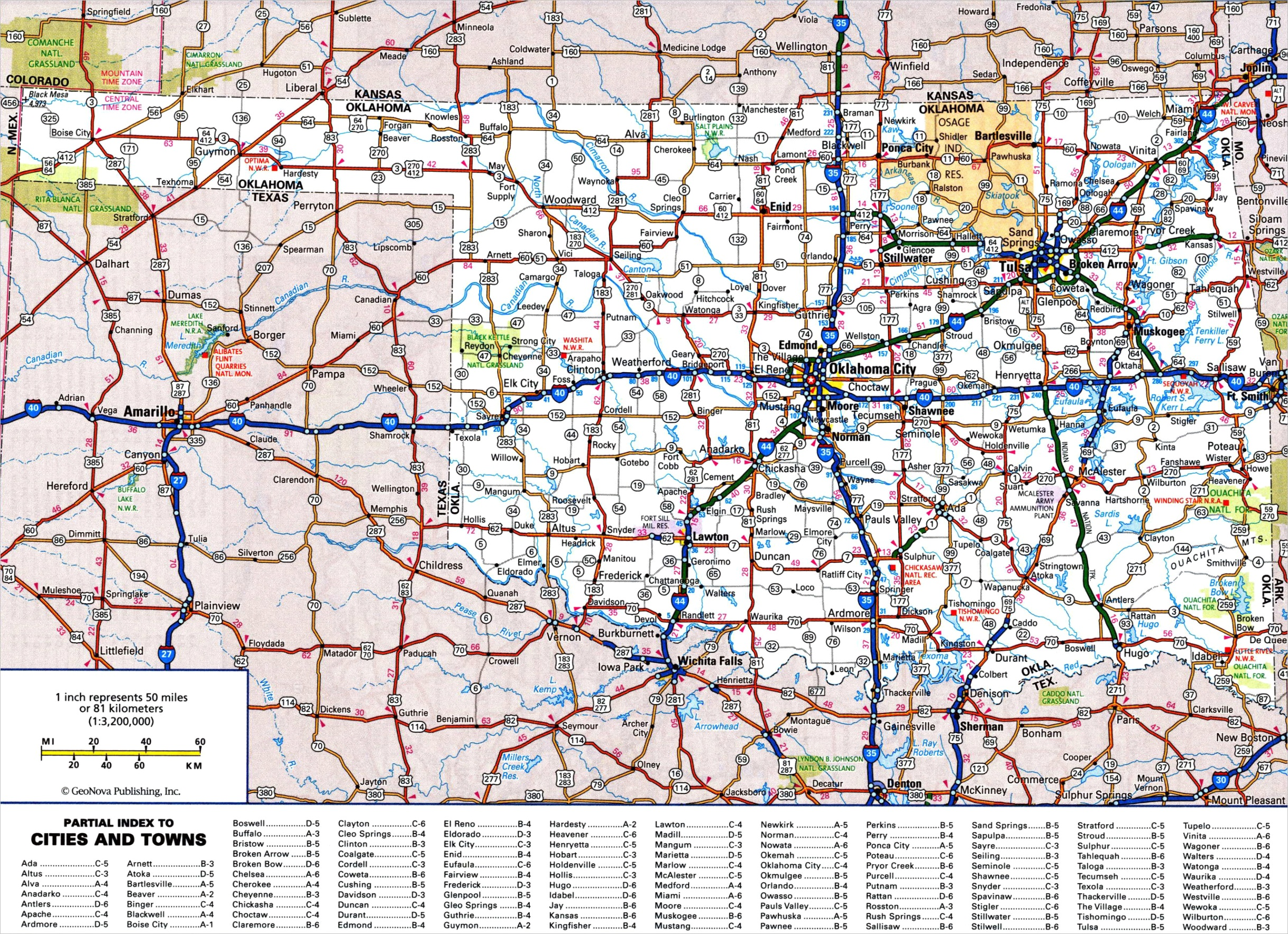 large detailed roads and highways map of oklahoma state with all cities and national parks