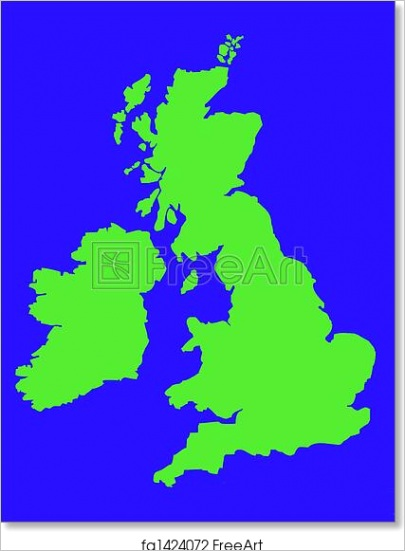 outline map of united kingdom in green fa