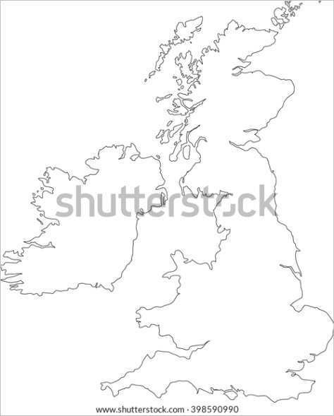 black outline vector map british isles