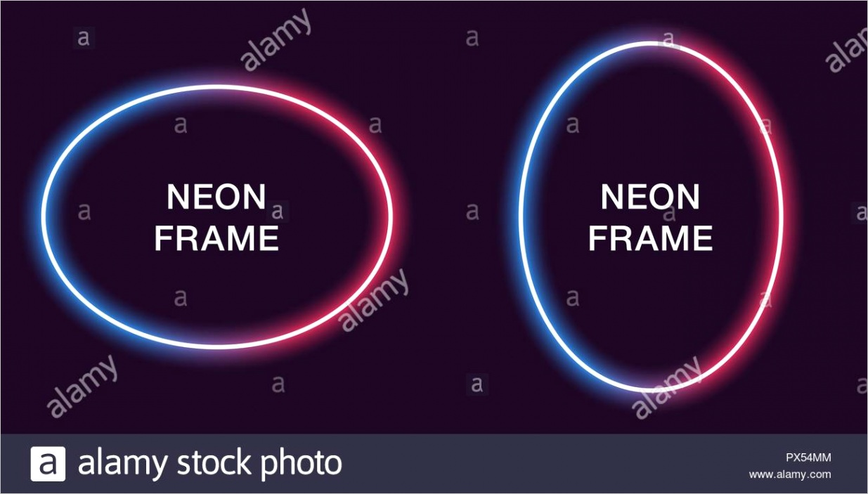 neon frame in oval shape vector template of neon border in blue and red color creative glowing ellipse in outline modern background for design of b image ml