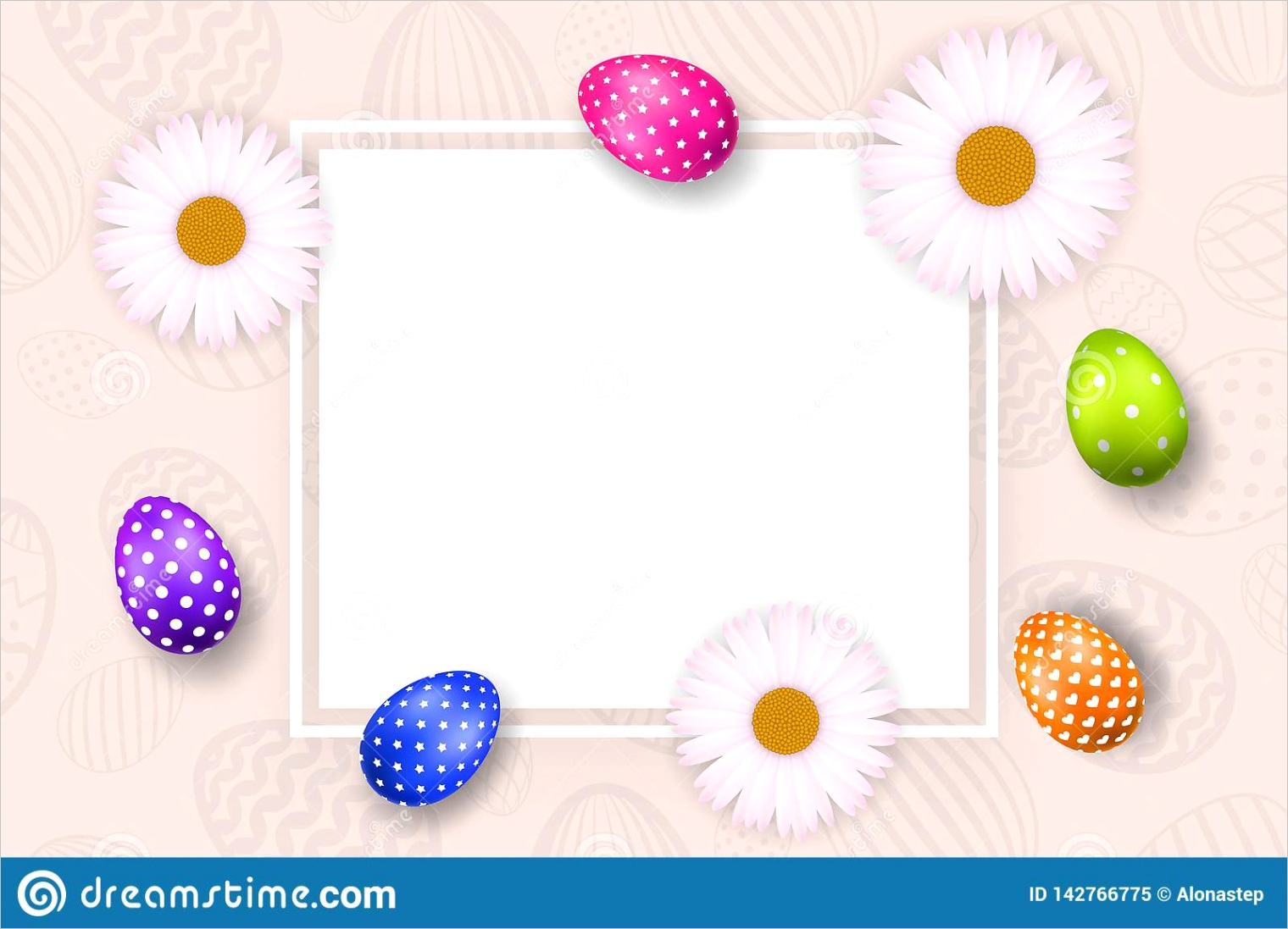 happy easter background pastel textured eggs chamomile decoration paper frame greeting d card border template empty space holiday image