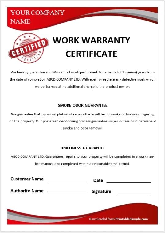warranty certificate templatesml