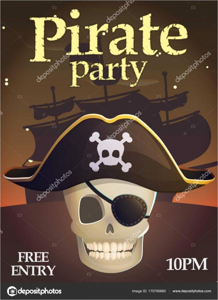 stock illustration pirate party invitation templateml