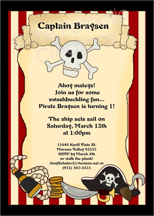 Vintage Pirate Scroll Birthday Party Invitations Printable or Printed p 180