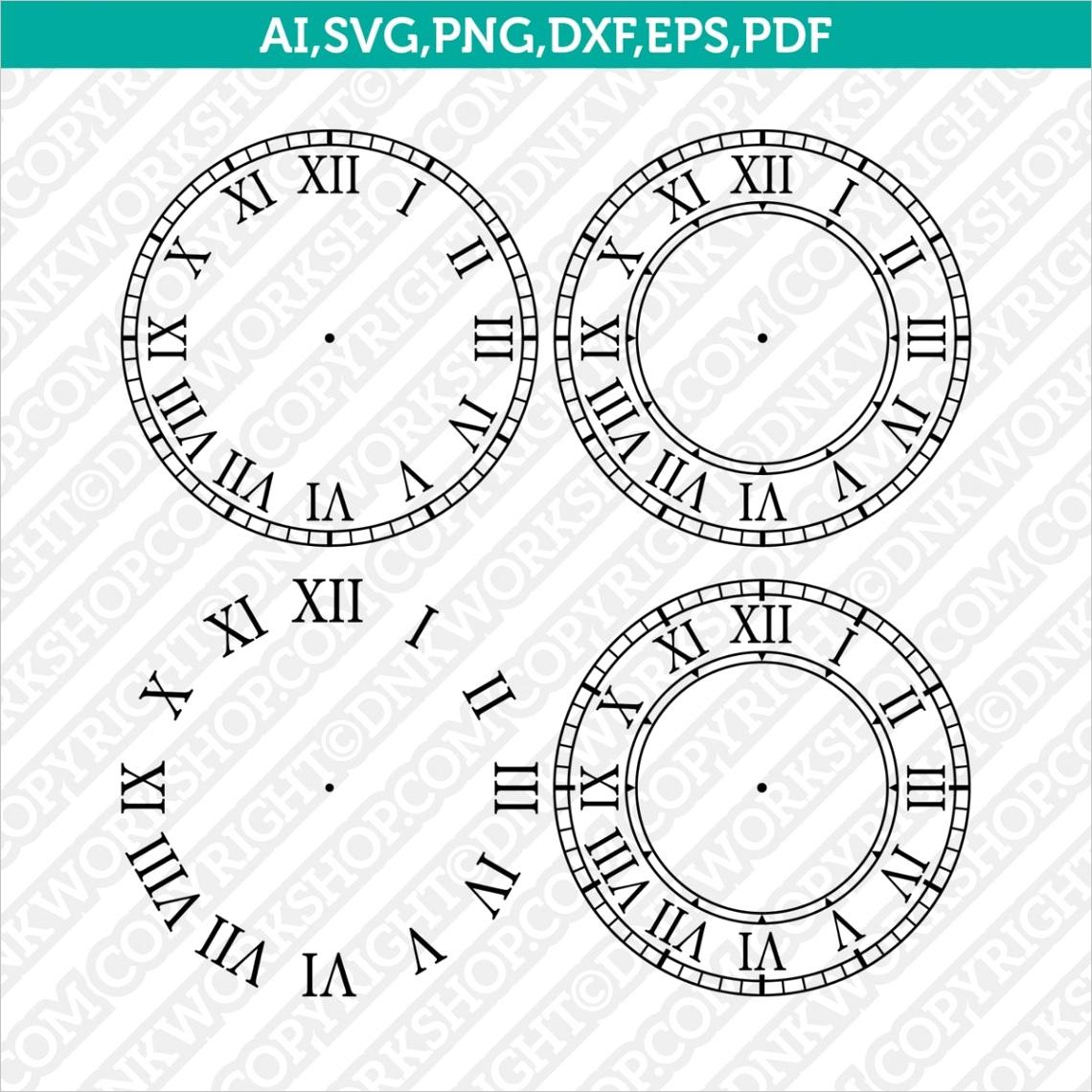 roman numeral vintage clock face template cricut svg cut file
