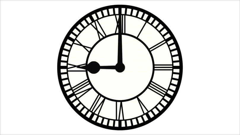 clip roman numeral clock ticking on loop alpha