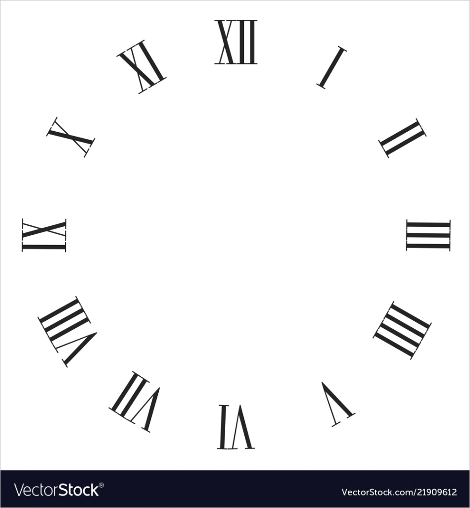 vintage roman numerals clock face isolated vector