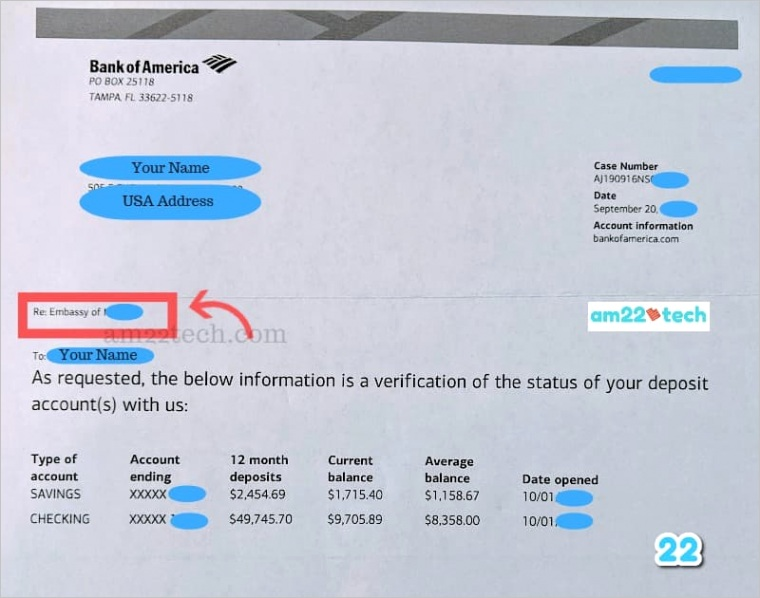 bank account verification letter for visa or immigration