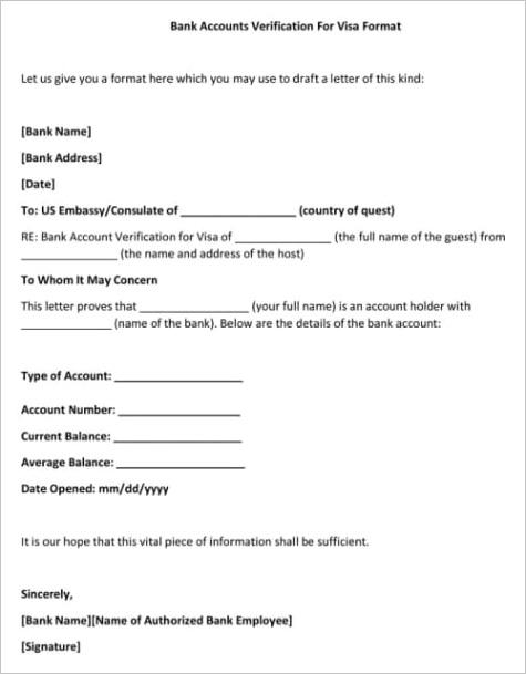 bank accounts verification for visa