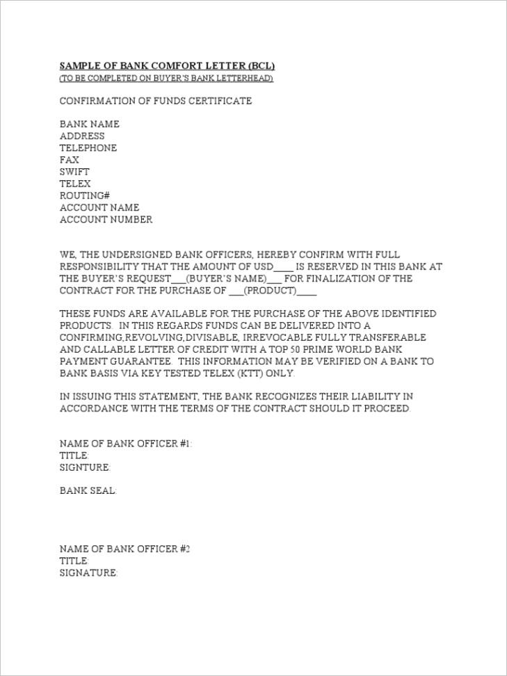 Sample of Bank fort Letter