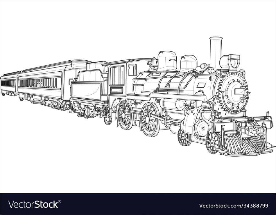 realistic steam train sketch template vector