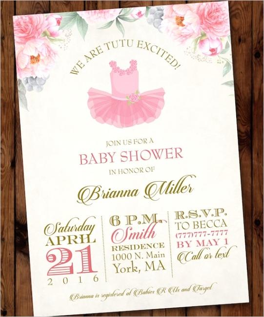 pink tutu baby shower invitation tutu
