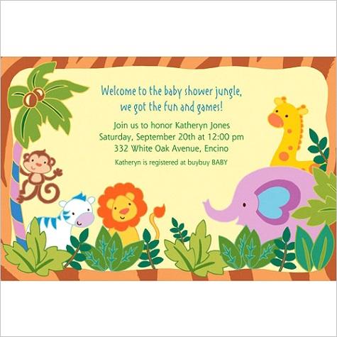 custom jungle baby shower invitations ml