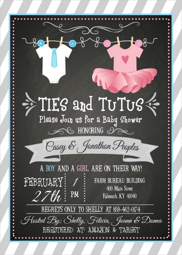 ties tutus baby shower invitation