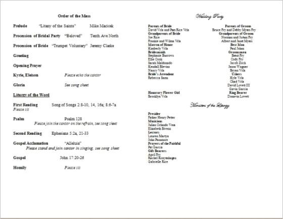 catholic mass wedding program