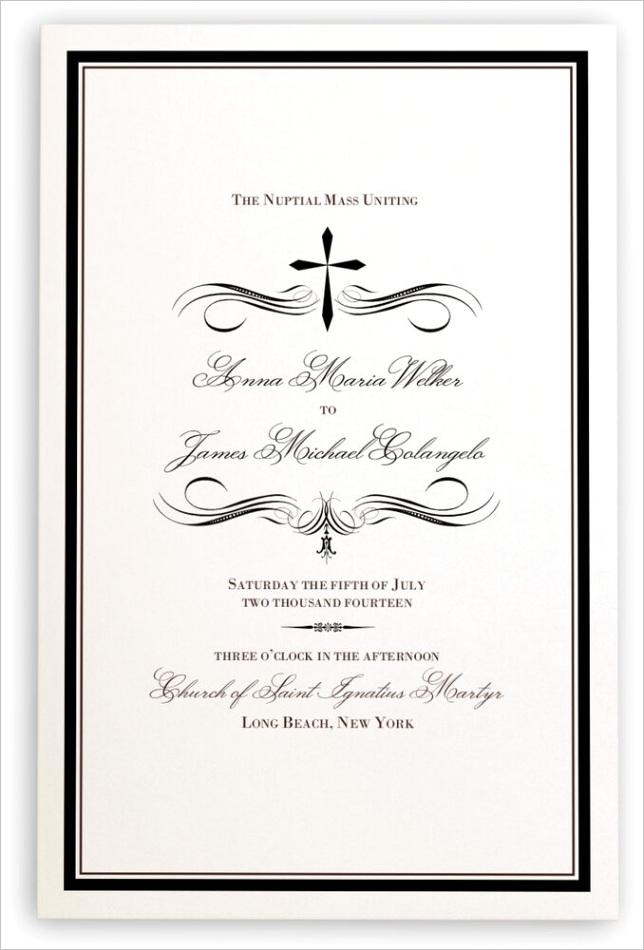 christian cross flourish wedding programs