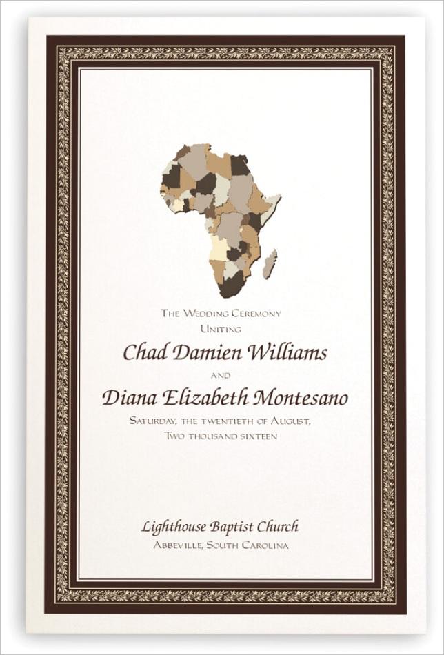 map of africa wedding programs