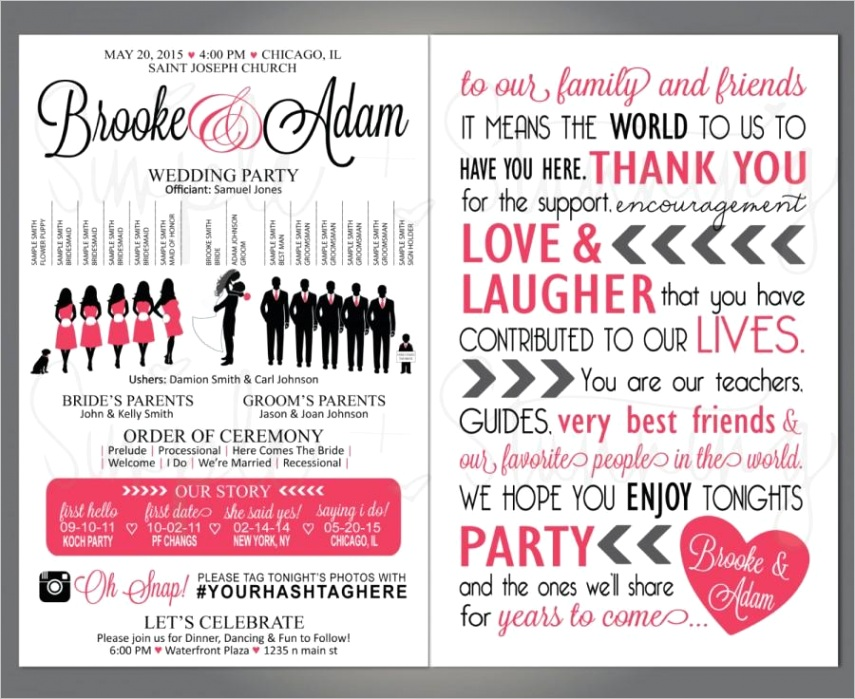 silhouette wedding party program wedding party veritcal layout silhouette front and back customizable 55quotx85quot