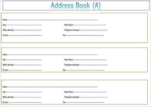 address book template