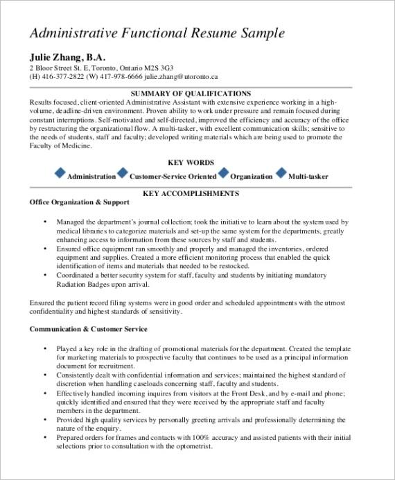 sample functional resume