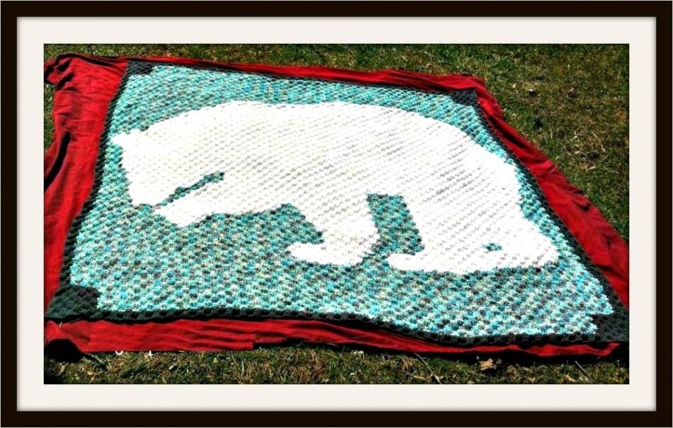 polar bear silhouette afghan c2c crochet pattern