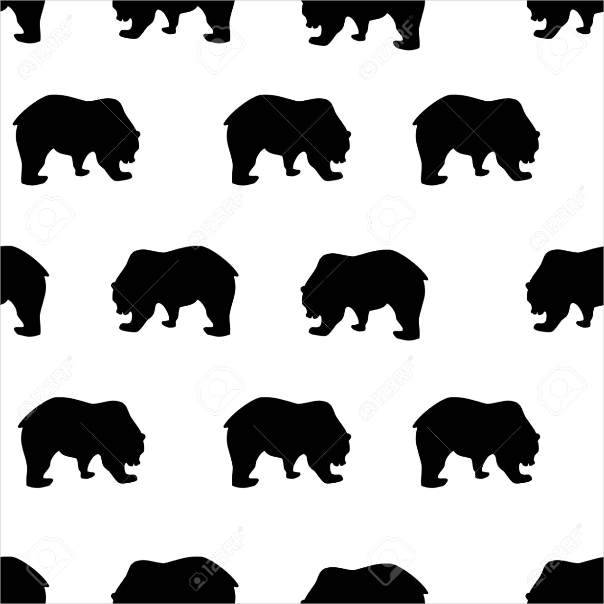 photo stock vector seamless pattern black bear silhouette on white background vintage style wild animals simple cute ki