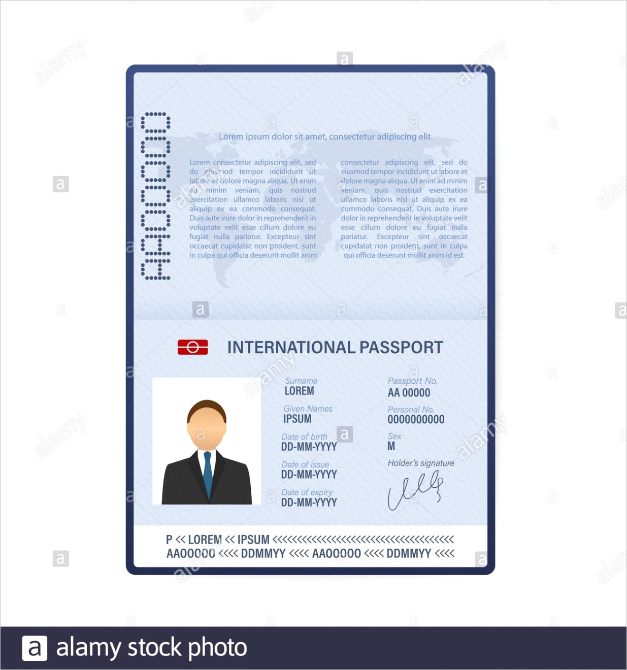 blank open passport template international passport with sample personal data page vector stock illustration image ml