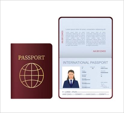 universal blue passport psd template