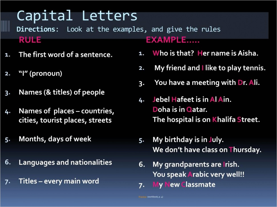 capital letters directions look at the examples and give the rules