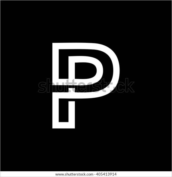 capital letter p white interwoven strips