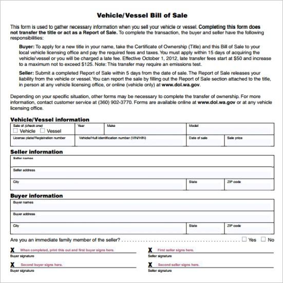 vehicle bill of sale templateml