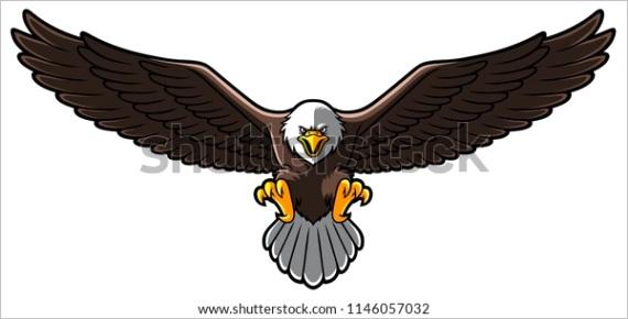 vector cartoon bald eagle spreaded wings