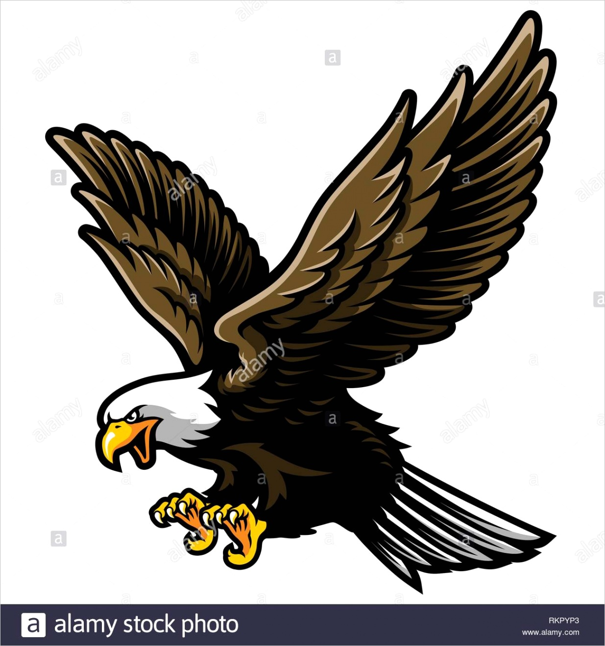 american bald eagle with open wings and claws in cartoon style image ml