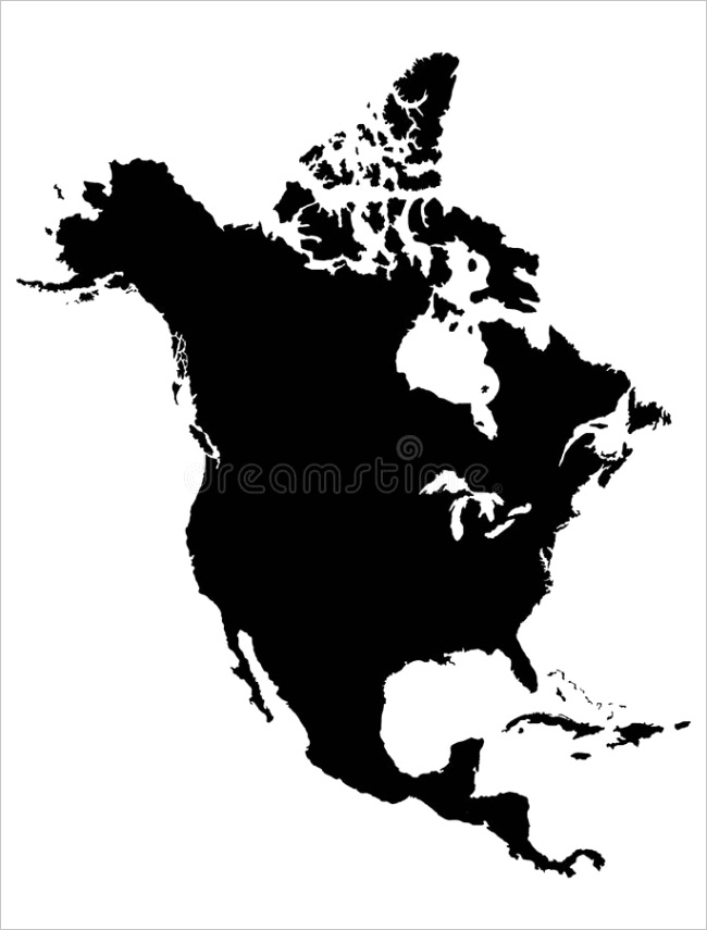blue outline map north america counties borders white background map north america image