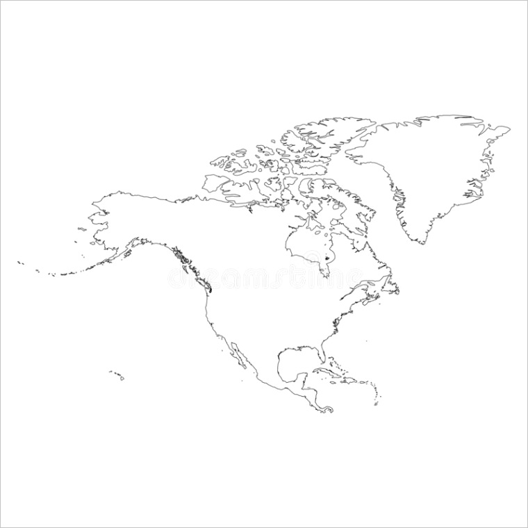 north america thin black outline map contour continent simple flat vector illustration image