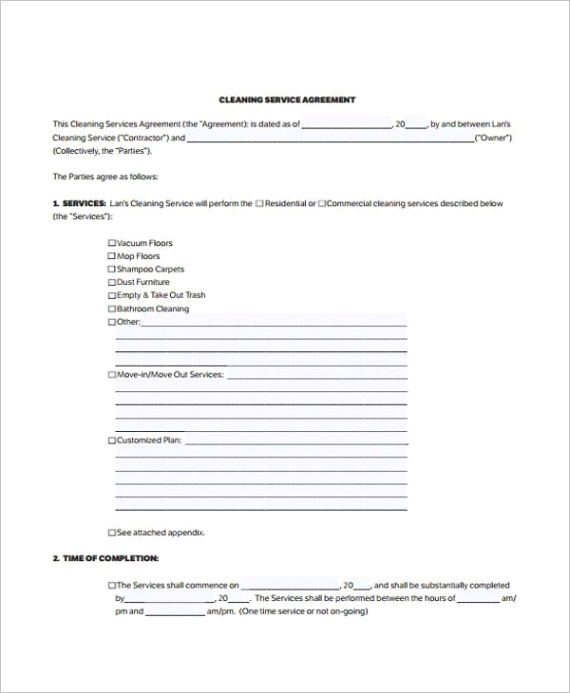 cleaning contract formml
