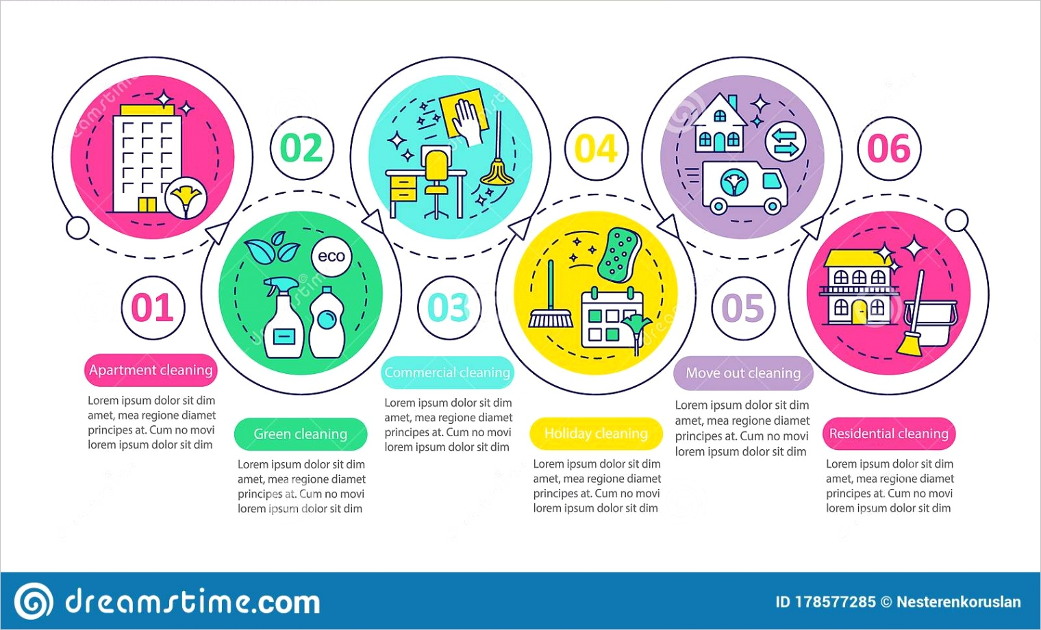 cleaning services vector infographic template mercial cleanup business presentation design elements data visualization six image