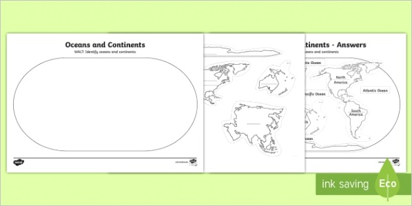 au t oceans and continents cut and stick activity