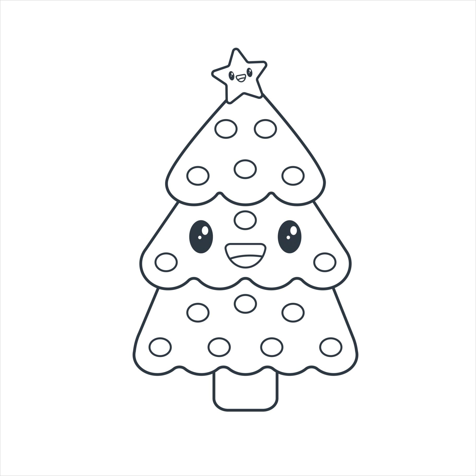 drawing nice kawaii christmas tree smiling